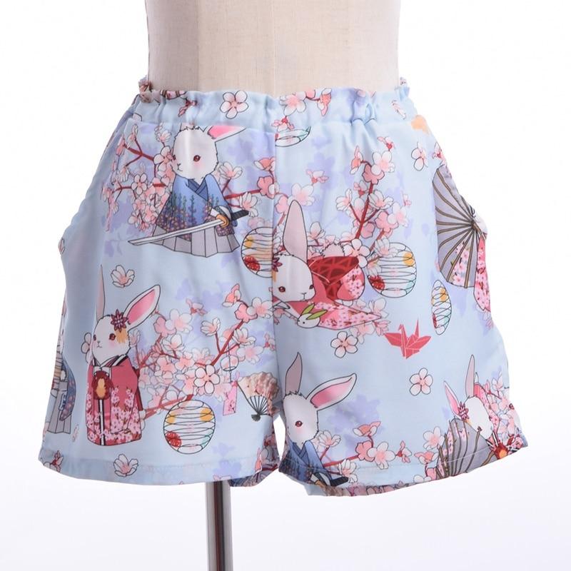 Kvinnor Japansk stil Harajuku Shorts Onegai Usagi Bönkanin Print - Damkläder - Foto 5