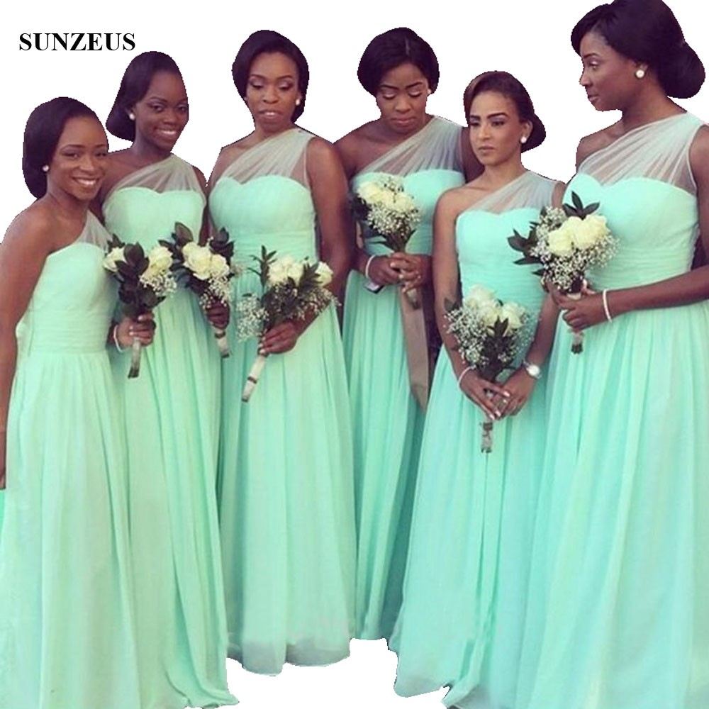 African Black Women Long   Bridesmaid     Dresses   Simple Elegant One Shoulder Chiffon   Dress   For Wedding Party BDS029