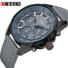 CURREN Fashion Blue Genuine Leather Belt Waterproof Mens Military Quartz Wrist Watches Top Brand Luxury Montre Homme Clock Men