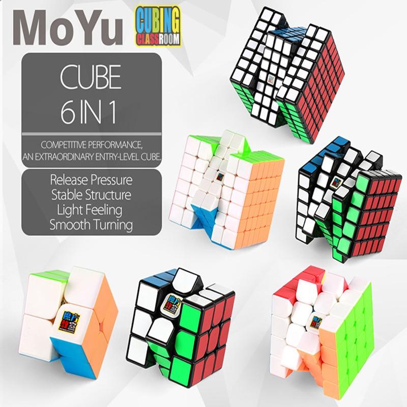 MOYU CUBE 6 pièces ensemble Performance compétitive, une entrée de gamme extraordinaire cube.2X2 3X3 4X4 5X5 6X6 7X7 Cube noir et sans collerless