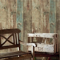 European Vintage Mural Wallpaper Wood Striped Flock Wall Paper Papel De Parede Tapete Decor Coffee Shop