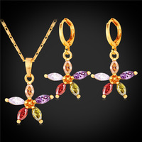 Zirconia Crystal Flower Jewelry Earrings And Pendant Necklace Set Gold/Silver Color Bridesmaid Jewelry Set Women PE252
