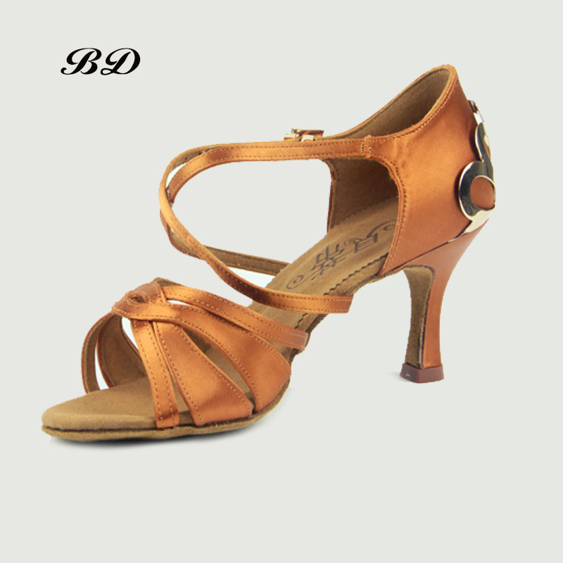 Top Grade Dance Shoes Ballroom Women Latin Shoes Imported Satin BDSASAN BD 2383 Diamond Buckle High