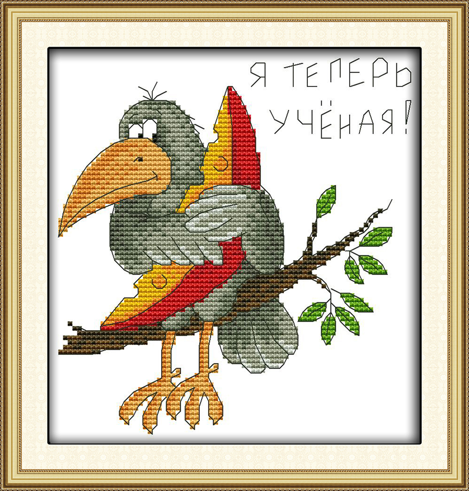 Dreampattern The crow eating watermelon cross stitch kit on canvas DMC embroidery handmade needlework craft supplies material