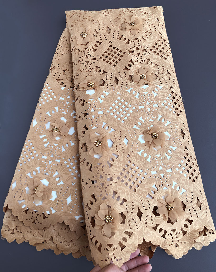 5 yards baby pink Korea Handcut Lace beaded African lace fabric Nigerian garment cloth with cutout holes high quality hot sale