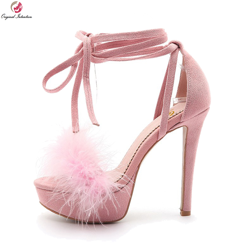 Original Intention New Elegant Women Sandals Open Toe Thin High Heels Sandals Ladies Black Pink Shoes