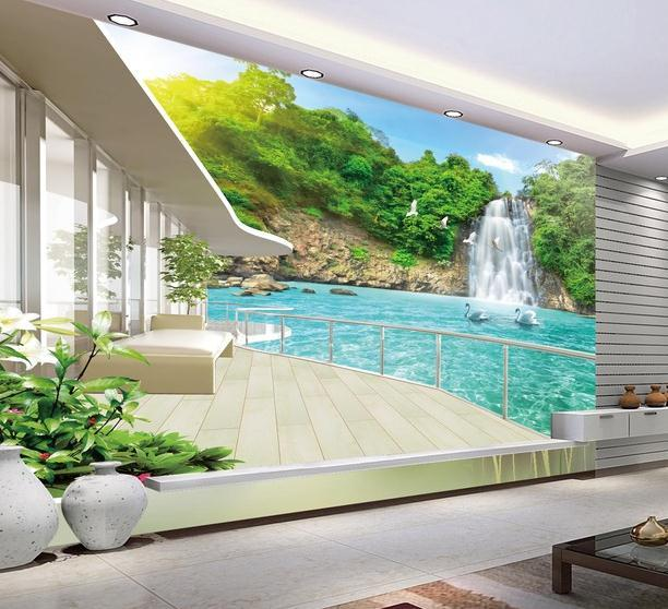 3d wallpaper for room balcony beautiful waterfall scenery for Balcony view wallpaper