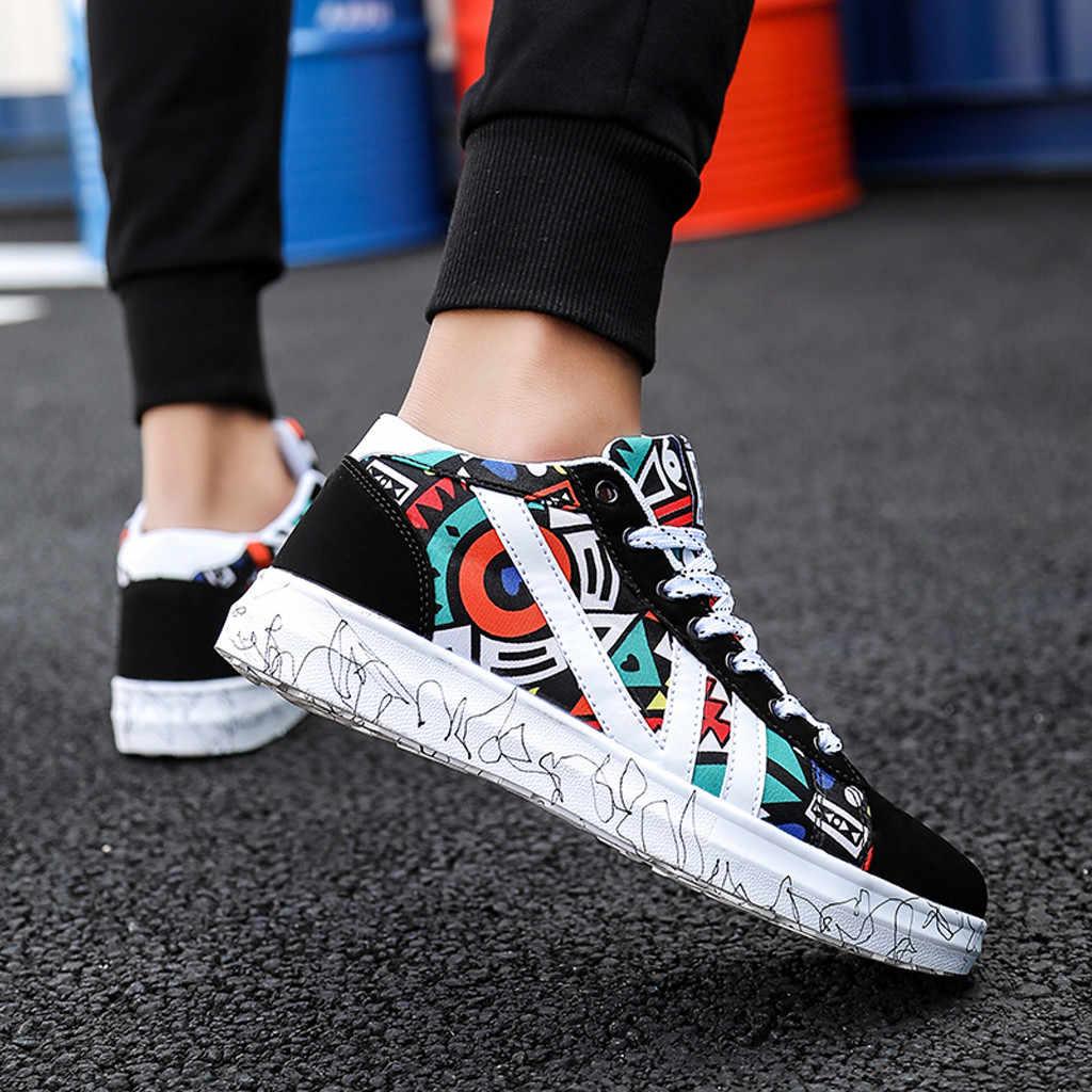 Mannen Schoenen mannen Zomer Van Scrawl Fashion Student Board Schoen High-top Toevallige Canvas Schoenen 2019 Nieuwe Aankomst zapatos de hombre gyf