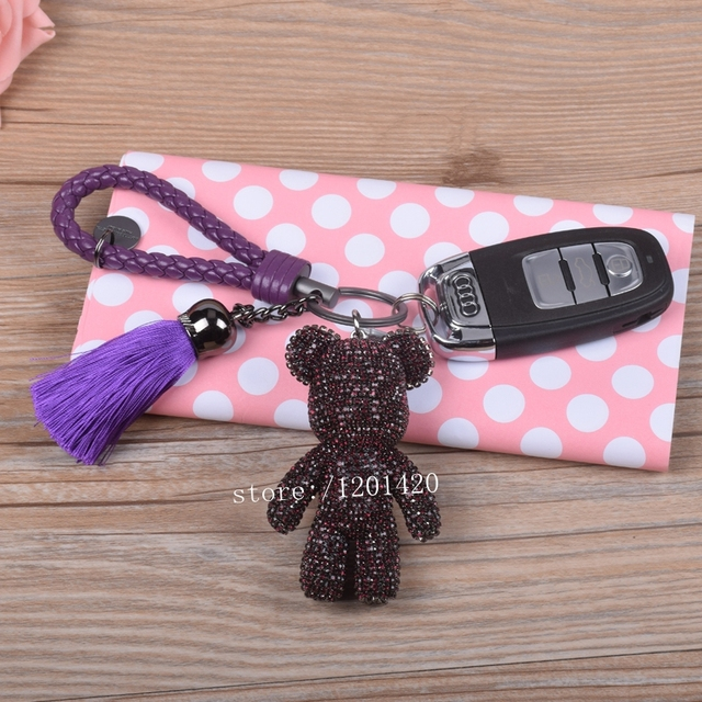 Горный хрусталь мишка брелки автомобилей брелок фиолетовый милые животные брелки сумка сумочка кошелек подвески натуральная кожа веревка газа