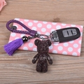rhinestone teddy bear keychains car keyring purple cute animal key chains bag handbag purse charms genuine leather rope strip