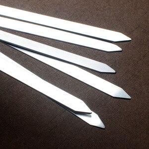 """Image 3 - 55cm 21.5 """"바베큐 꼬치 스테인레스 스틸 Shish 케밥 바베큐 포크 세트 긴 평면 나무 손잡이 바베큐 바늘 고기 그릴 야외 도구 6pc"""