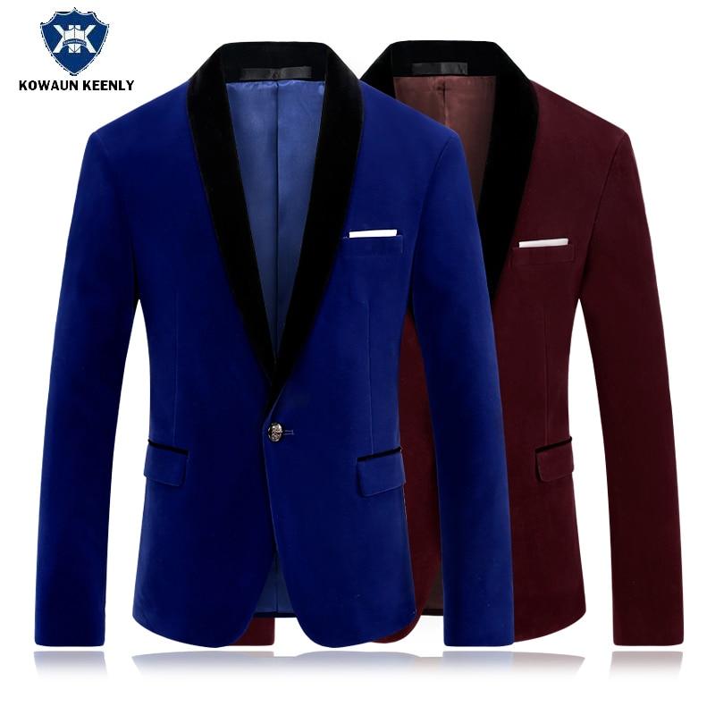 Online Shop Men Slim Royal Blue Velvet Blazers Red Suit Jacket ...