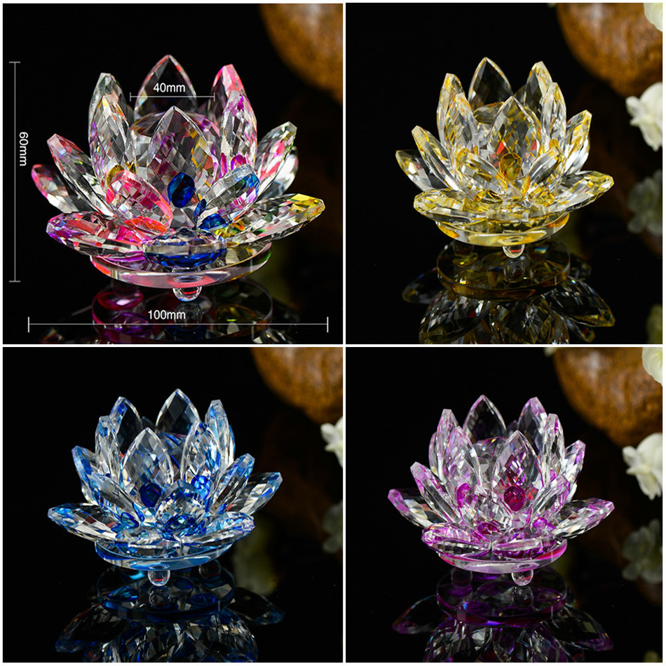 Flower Shape Quartz Crystal Glass Lotus Flower Natural Stones And