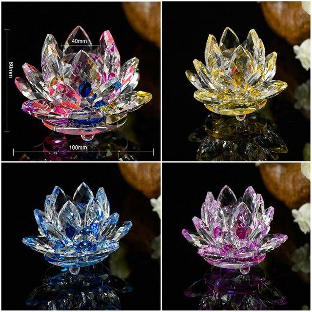 Flower Shape Quartz Crystal Glass Lotus Flower Natural Stones And