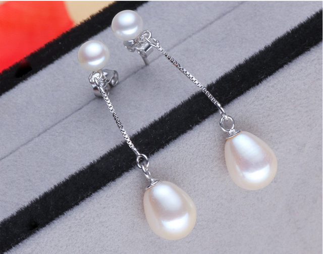 ZHBORUINI Fashion Pearl Earrings Natural Freshwater Pearl Drop Earring 925 Sterling Silver Jewelry Pearl Jewelry For Women Gift