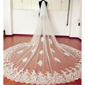 Vintage Style Lace Cathedral Wedding Veils Applique Edge Long One Layer Bridal Veils Custom Made