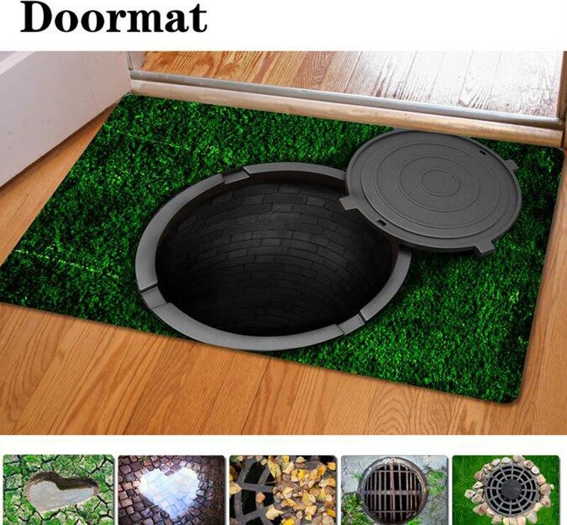 Authentic rubber pseudo 3 d printing carpet floor MATS trap Contemporary  and contracted bathroom non-slip mat door mat rug