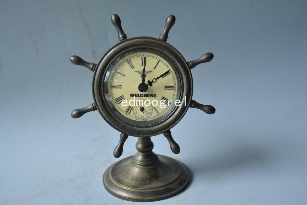 Horloge de beauté en cuivre de la dynastie Qing | Bateau de mer magnifiquement conçu, sculpté à la main, fonctionnant correctement, livraison gratuite