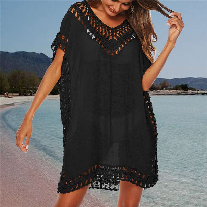 Swimsuit Tunic Beachwear Cover-Up Bikini Robe-De-Plage Sexy Women Hollow-Out Solid Loose