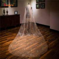 Bling Bling Champagne Wedding Veils Long Sequins Dazzling Bridal Veil with Comb Bride Wedding Accessories V30