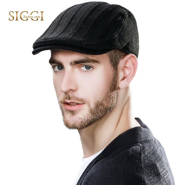 fa98ebecc US $10.95 35% OFF|SIGGI Men Knitted Wool Winter Hat Weave Flat Cap Gatsby  Ivy Irish Hunting Newsboy Visor Autumn 69148-in Visors from Men's Clothing  & ...