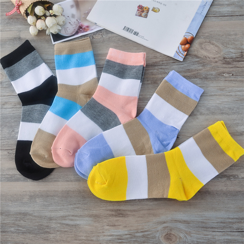 5 Pair/ Lot Hot Sale 3 Solid Color Stitching Thick Stripes Women Socks Quality Spring Autumn Winter Warm Comfortable Female Sock