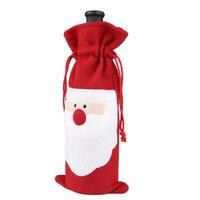 50pcs/lot Cute Santa Clause Champagne Wine Bottle Dress Cover Red Velvet Pot Wrapper Christmas Gift Accessories HX411