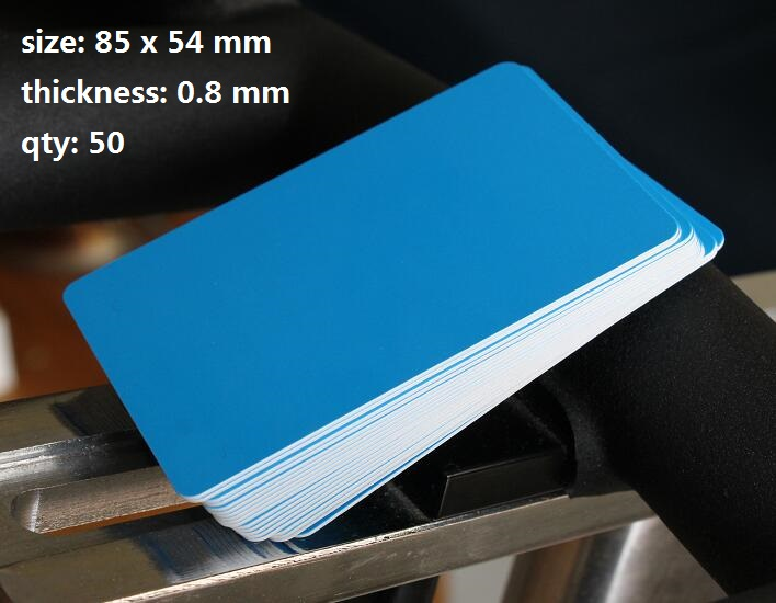 50pack 08mm thickness small glossy blue pvc sheet plain plastic 50pack 08mm thickness small glossy blue pvc sheet plain plastic blank business card 8554mm in business cards from office school supplies on reheart