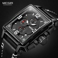 цена MEGIR Men's Sports Chronograph Wrist Watch for Men Army Leather Square Quartz Stop Watch Clock Man Relogios Masculino 2061Black онлайн в 2017 году