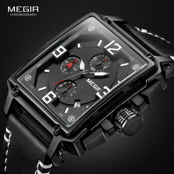 MEGIR Mens Sports Chronograph Wrist Watch for Men Army Leather Square Quartz Stop Clock Man Relogios Masculino 2061Black