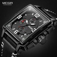 MEGIR Men's Sports Chronograph Wrist Watch for Men Army Leather Square Quartz Stop Watch Clock Man Relogios Masculino 2061Black