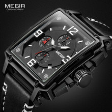 MEGIR ساعة معصم رجالية رياضية كرونوغراف للرجال جلد الجيش ساحة كوارتز ساعة توقف ساعة رجل Relogios Masculino 2061 أسود