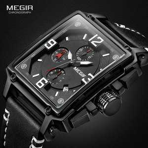 Image 1 - Megir relógio de pulso masculino esportivo, cronógrafo, relógio de pulso para homens, couro do exército, quadrado, quartzo, cronógrafo, relógio masculino 2061 preto preto