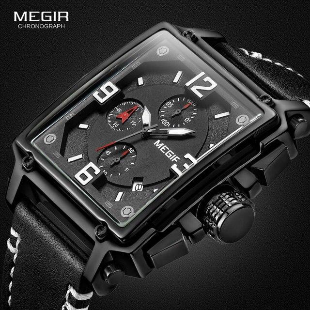 Megir relógio de pulso masculino esportivo, cronógrafo, relógio de pulso para homens, couro do exército, quadrado, quartzo, cronógrafo, relógio masculino 2061 preto preto