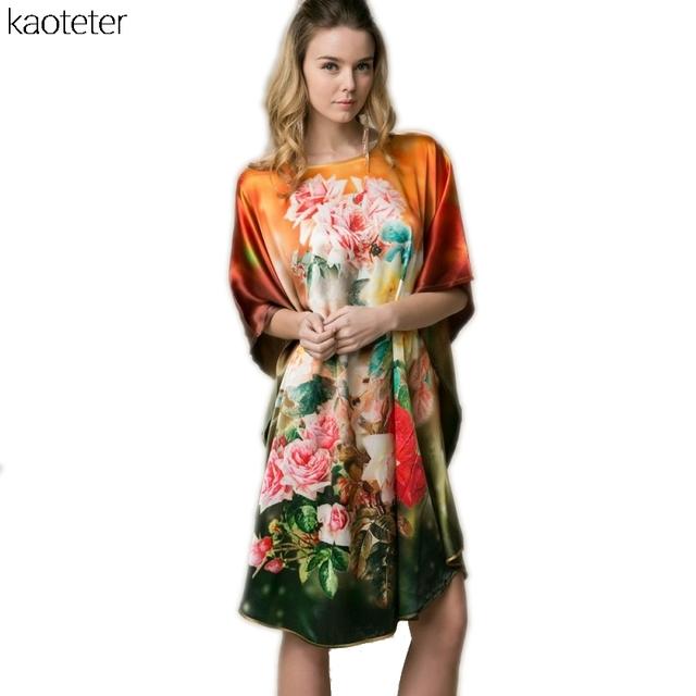 100% Real Seda Mujeres Sueltan Homewear Loungewear Noche Falda de Una Pieza Más del Tamaño Desgaste Hogar Pintado A Mano Fashion Camisón YBP00301