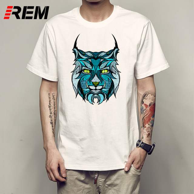 cba7a5c8 REM Men's Fashion Painted King Design T Shirt Cool Summer Tiger Printed  Tops High Quality Casual Tee p63336