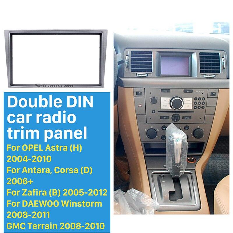 Seicane Argent 2Din Autoradio Fascia pour 2006 + Opel Vectra Astra Zafira Dash CD Kit D'installation Panneau Kit Tableau de Bord panneau