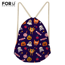FORUDESIGNS Drawstring bag Draw String Bag Unisex Halloween Skull Backpacks  3D Printing Drawstring Backpack Sack bolso