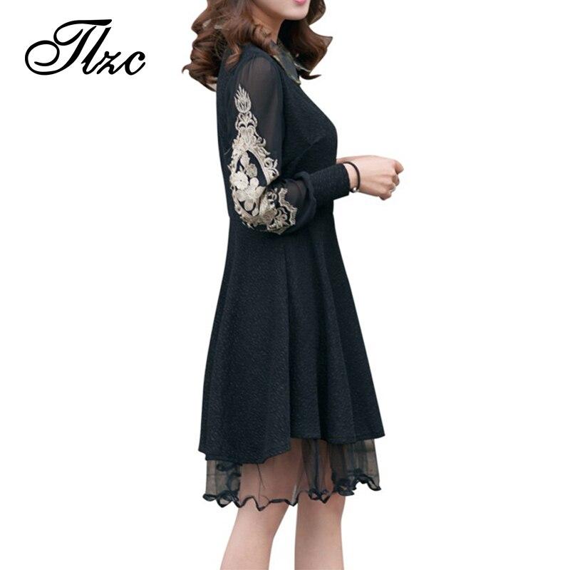 Vintage Style Natural Color Lady Fashion Lace Dress Plus Size L 4xl Black Color Sexy Lady Slim