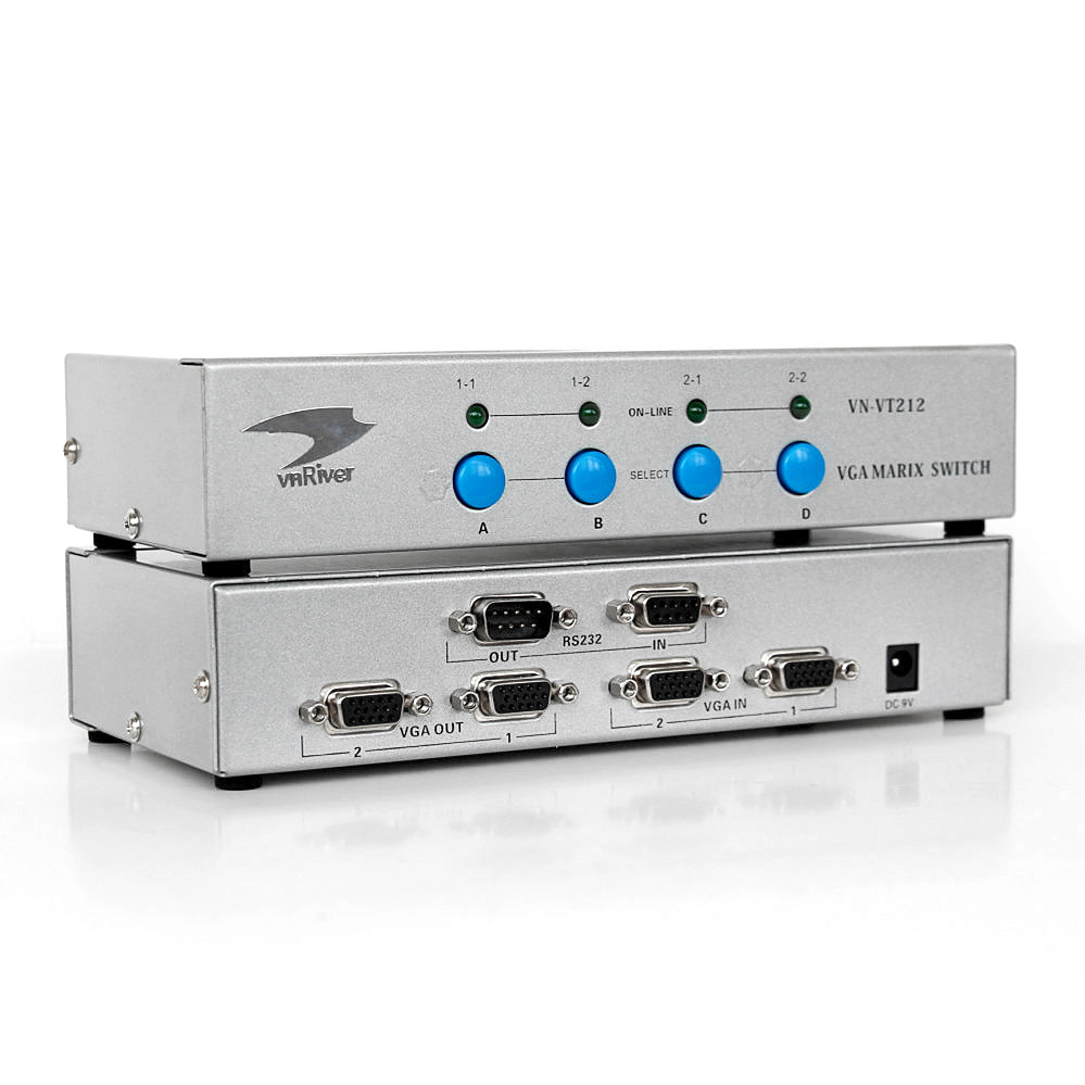 VGA Matrix Switch 2x2 with RS232 and IR Remote Control for DVR/Two Monitors/PC
