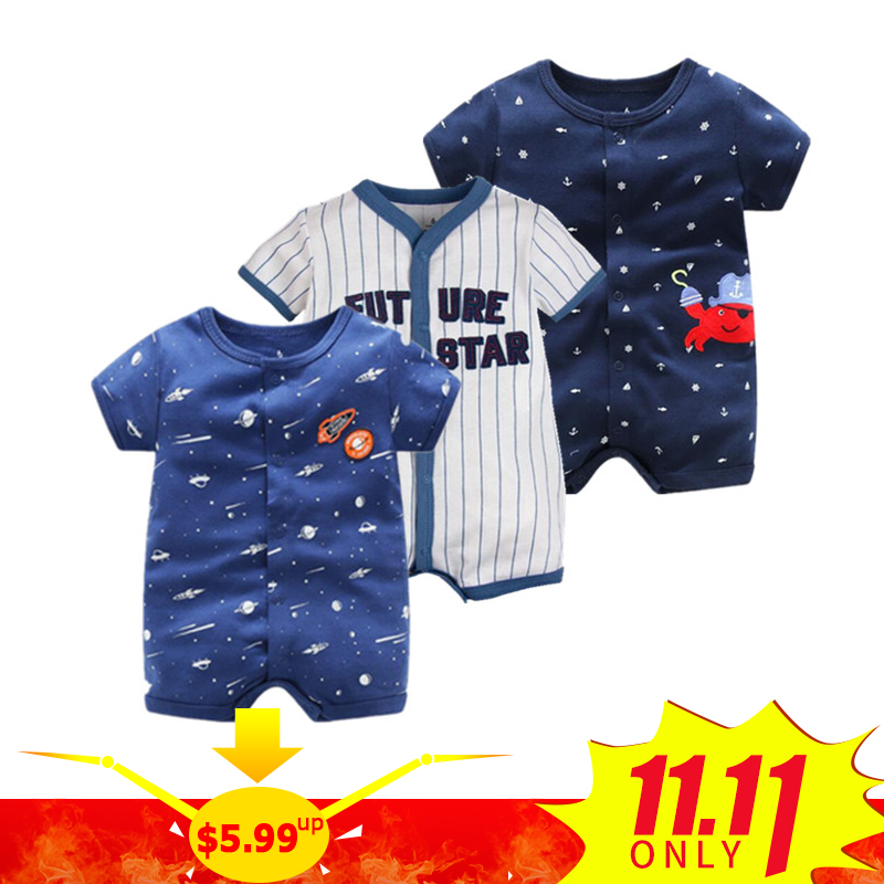 2018 Summer Short Sleeved Jumpsuit For Newborn Romper Character Baby Boy Clothes and  Baby Girl Clothes 0-24 Baby Rompers Summer summer baby boy rompers 100