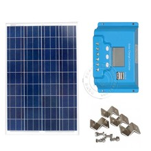 100W 12v PV Solar Panel Kit 12V LCD Display Solar Charge Controller PWM Dual USB RV Boat Off Grid Solar Panels Kit Z-Bracket  500w off grid system complete kit 5 100w poly pv solar panel with 45a controller for 12v battery