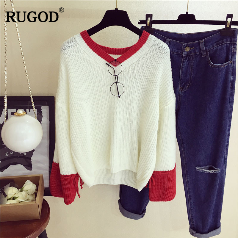 Rugod 2018 New Winter Sweater Women pullover Knitted Jumper o-neck Long Sleeve contrast color sweet christmas sweater tops women