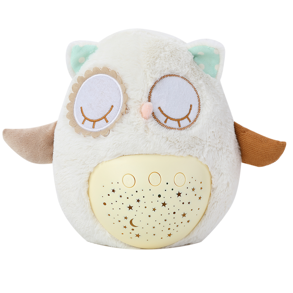 Baby Sleeping Night Light Plush Stuffed Animal Toys with Music Stars Projector Led Sleep Light Bear Owl Partner for Baby Kids