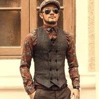 Mens Double Breasted Vest Men Dress Suit Vest Men Formal Grey Vest Suit Gilet Vest Slim Business Jacket Tops homme spring Male