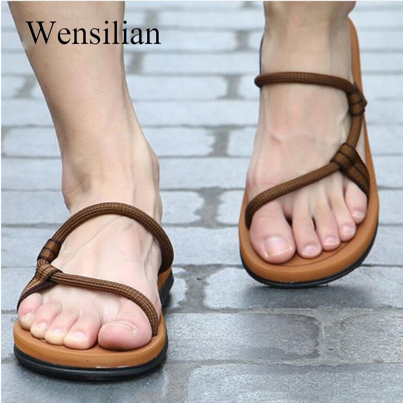 Sandals Men Sandalias Hombre Gladiator Sandals For Male Summer Roman Beach Shoes Flip Flops Slip On Flats Slippers Slides(China)