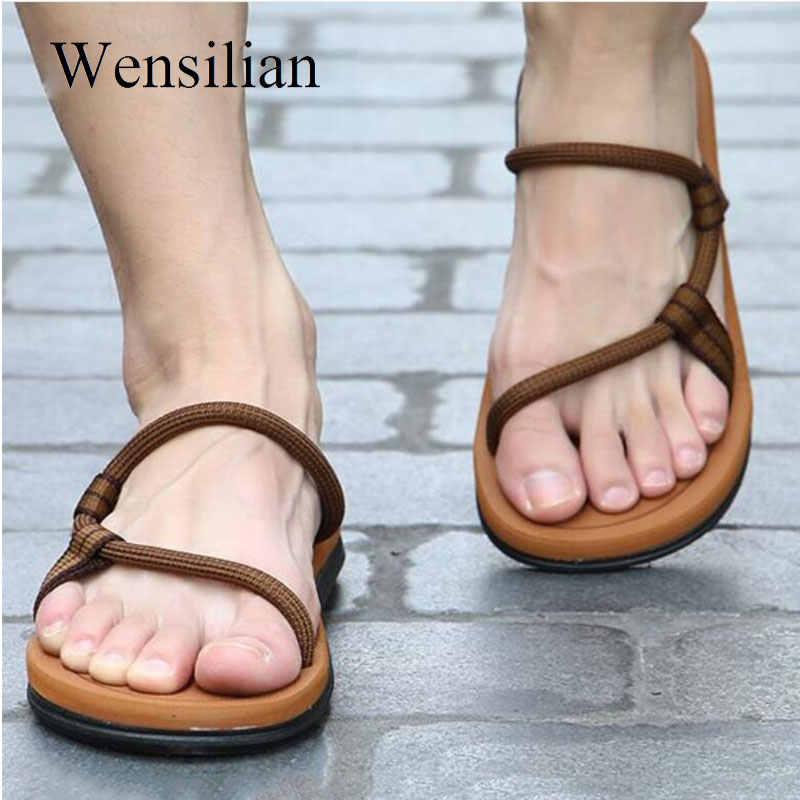 e5819cd711ba Sandals Men Sandalias Hombre Gladiator Sandals for Male Summer Roman Beach  Shoes Flip Flops Slip on