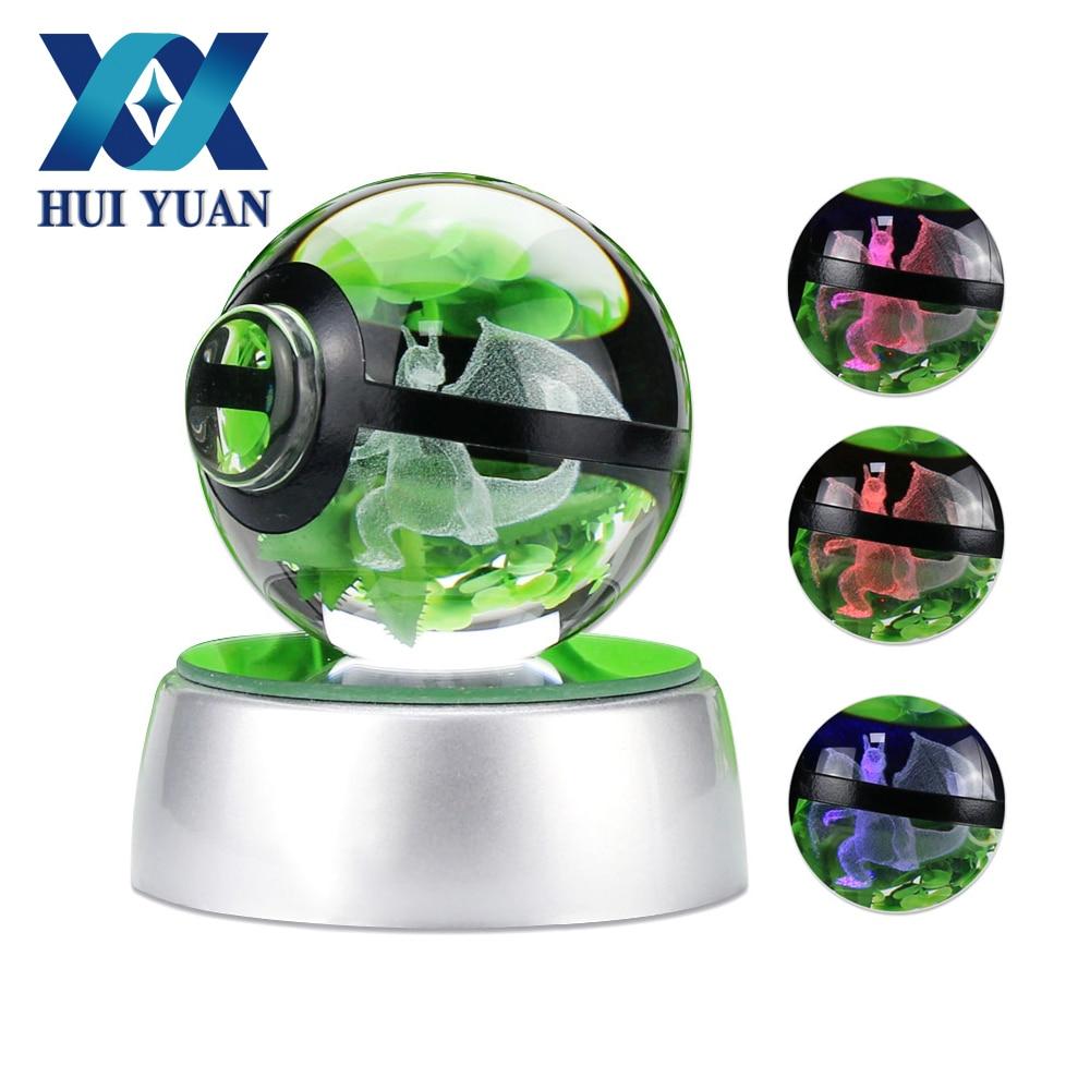 Charizard 3D Boule De Cristal Pokemon Go 5CM Décoration De Bureau Lumière Boule En Verre LED Base Colorée Lampe Enfant cadeau HUI YUAN Marque