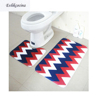 Free Shipping 2pcs Blue Red Toilet U Type Bathroom Bath Mat Set Non Slip 45x37cm&45x75cm Tapis Salle De Bain Tapete Banheiro