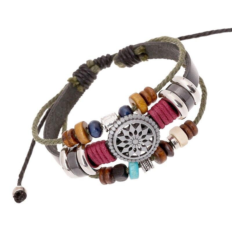 9185caeb2477 3 capas moda estilo étnico pulsera Niñas femenino ajustable cuerda hecha a  mano Cuentas hombres mano cadena pulseras para las mujeres